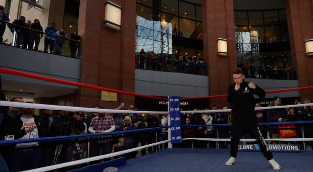 Carl Frampton and Hugo Cazares' public workout at Victoria Square, Belfast