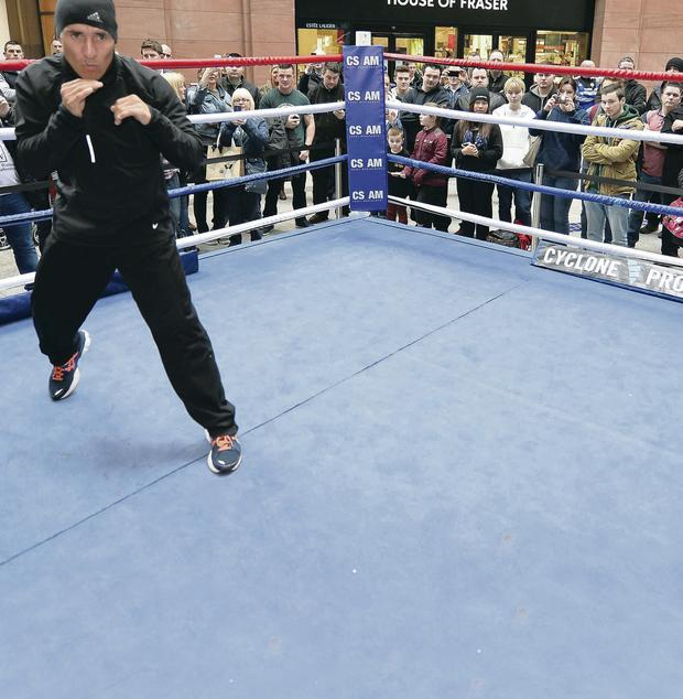 Hugo Cazares warms up for the showdown with Carl Frampton tonight