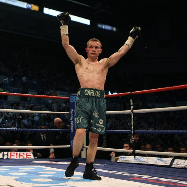 Carl Frampton, pictured, will face Leo Santa Cruz for the WBC super-bantamweight title after beating Hugo Cazares