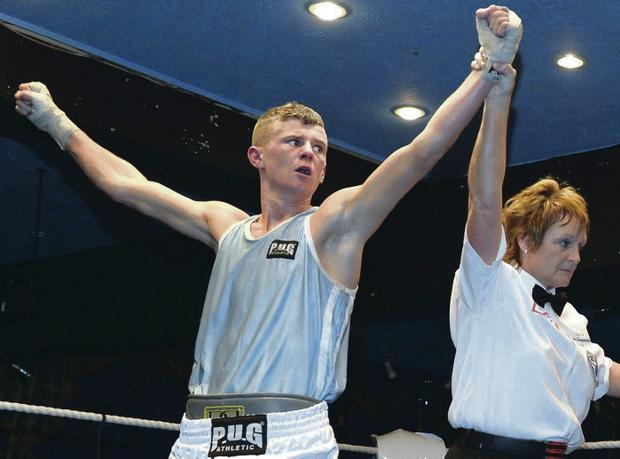 Joseph Fitzpatrick celebrates his victory over Sean McComb at the Dockers Club but is now facing an appeal