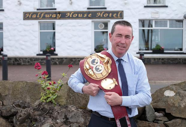 Boy becomes a man: Dave McAuley with his world title belty
