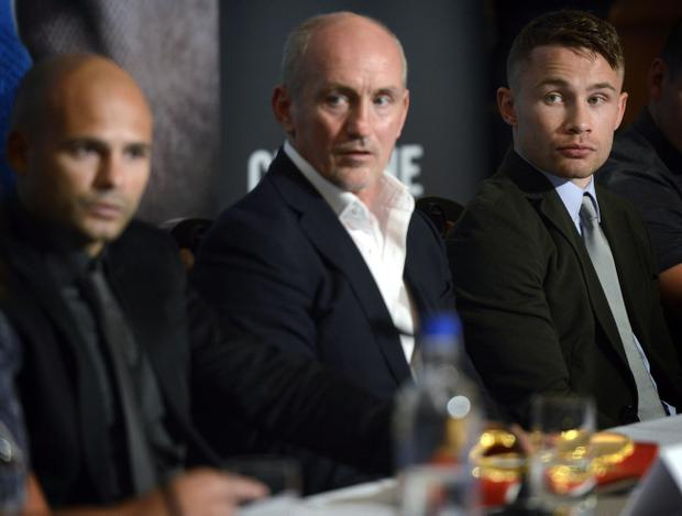 Barry McGuigan (centre) with Carl Frampton and Kiko Martinez at a press conference to announce their IBF super-bantamweight world title fight which will take place at Titanic Quarter in Belfast on September 6