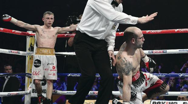 It's a knockout: Carl Frampton stops Kiko Martinez in their first meeting at the Odyssey Arena last February