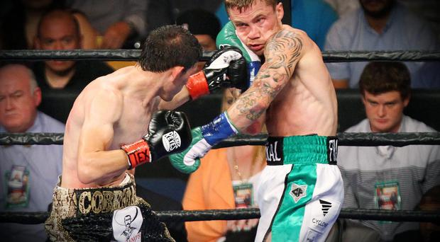 Early trouble: Carl Frampton knocked down twice in the first round by Alejandro Gonzalez Jr in El Paso