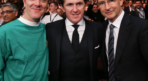 Famous fans: Jimmy Nesbitt, AP McCoy and Martin O'Neill enjoy the Carl Frampton fight