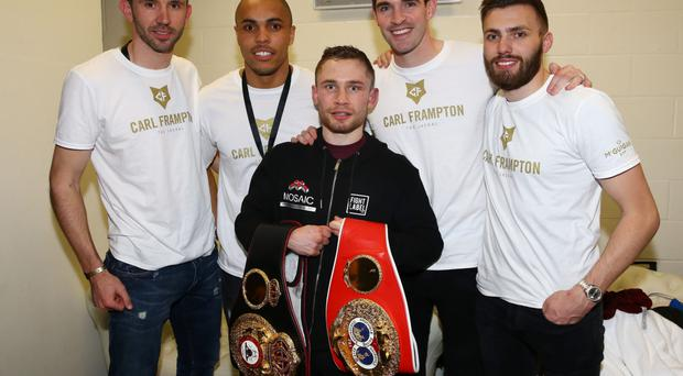 Belter: Carl Frampton with some of Northern Ireland's football heroes