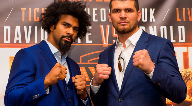Facing off: David Haye (left) will continue his comeback against unbeaten Arnold Gjergjaj at The O2 Arena on May 21