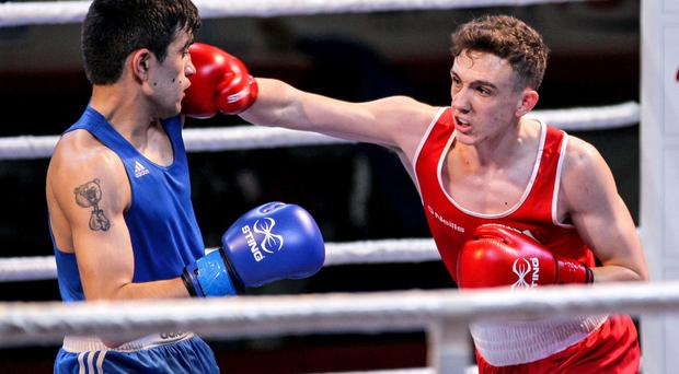 Big blow: Belfast ace Brendan Irvine lands a punch on Narek Abgaryan but it was the Armenian who booked his place in Rio after a points victory, although Irvine can still make the Olympics