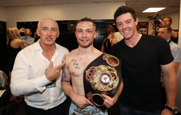 Famous fans: Barry McGuigan, Carl Frampton and Rory McIlroy after the Jackal's WBA World featherweight title triumph against Leo Santa Cruz in New York
