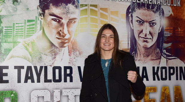 Ready to rock: Katie Taylor at Dublin City Hall yesterday ahead of her professional debut on Saturday in London