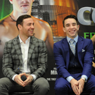Bright future: Michael Conlan and manager Matthew Macklin in New York yesterday to publicise his professional debut