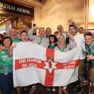 Flying the flag: The Jackal army made themselves heard in Las Vegas last night