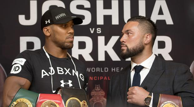 Anthony Joshua, left, gave short shrift to Joseph Parker's 'king of steroids' claim
