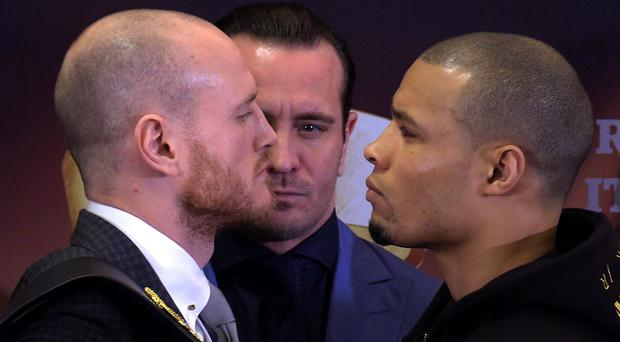 Chris Eubank Jr, right, is confident he can take George Groves' belt (Phil Medlicott/PA)