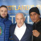 Josh Taylor, left, with promoter Barry McGuigan and opponent Winston Campos