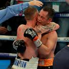 Respect: the pair embrace at the end of the fight