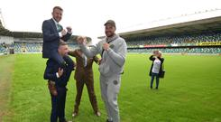 Paddy Barnes clowning around at Windsor Park with Carl Frampton and Tyson Fury