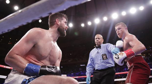 Rocky Fielding as the referee stops the fight against Mexico's Saul Canelo Alvarez (Frank Franklin II/AP)