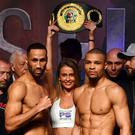 James DeGale and Chris Eubank Jr weigh in at The O2, London. (Victoria Jones/PA)