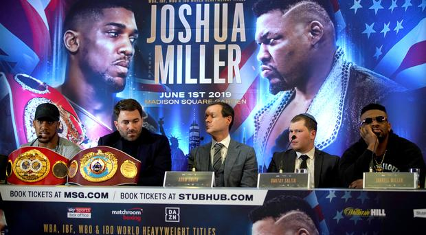 Anthony Joshua (left) and Jarrell Miller (right) were due to face each other in New York this summer (John Walton/PA)