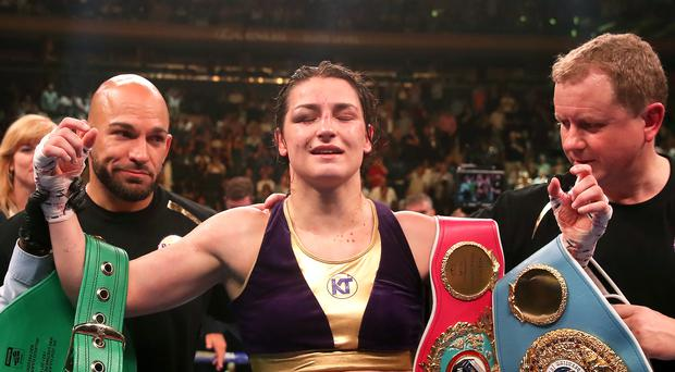 Katie Taylor celebrates her win against Delfine Persoon (Nick Potts/PA)