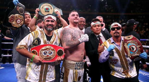 Andy Ruiz Jr, centre, celebrates his victory over Anthony Joshua (Nick Potts/PA)