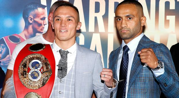 Josh Warrington, left, has warned Kid Galahad, right, he is hungry to retain his title and land big unification fights. (Martin Rickett/PA)