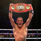 Josh Warrington celebrates his win against Kid Galahad (Dave Thompson/PA)