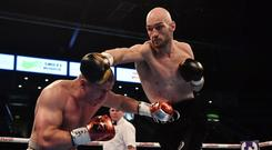 On attack: Steven Ward fighting Michal Ciach at the SSE Arena last year
