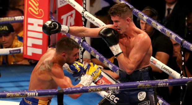 Vasyl Lomachenko, left, defeated Luke Campbell by unanimous decision (Steven Paston/PA)