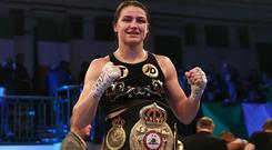 Katie Taylor, pictured, will face Christina Linardatou for the WBO super-lightweight world title in Manchester on November 2.