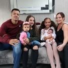 Tommy McCarthy who is fighting in Italy for the WBC International Cruiserweight title, relaxing at home in Belfast with wife Amy and daughters, Cara, Aniya, Branna and Kiya
