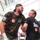 Tyson Fury, left, and his trainer Ben Davison are no longer working together (Liam McBurney/PA)