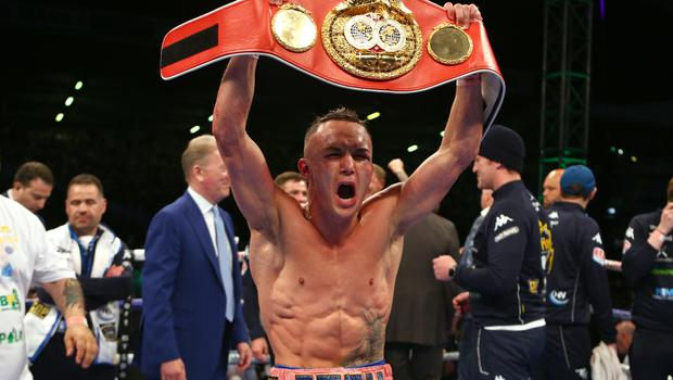 Josh Warrington celebrates beating Lee Selby (Dave Thompson/PA)