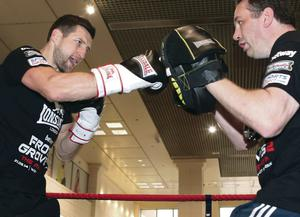 Packing a punch: Carl Froch works out in Nottingham yesterday