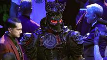 Deontay Wilder arrives in the ring wearing an elaborate costume (Bradley Collyer/PA)