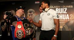 Anthony Joshua, right, is looking to reclaim the titles (Nick Potts/PA)