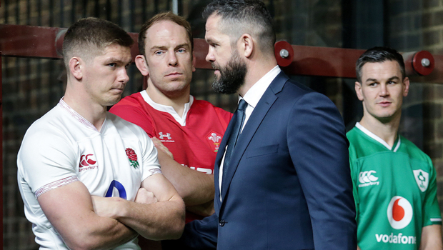 Father figure: Ireland head coach Andy Farrell greets his son Owen, England's captain, at Wednesday's Six Nations launch in London