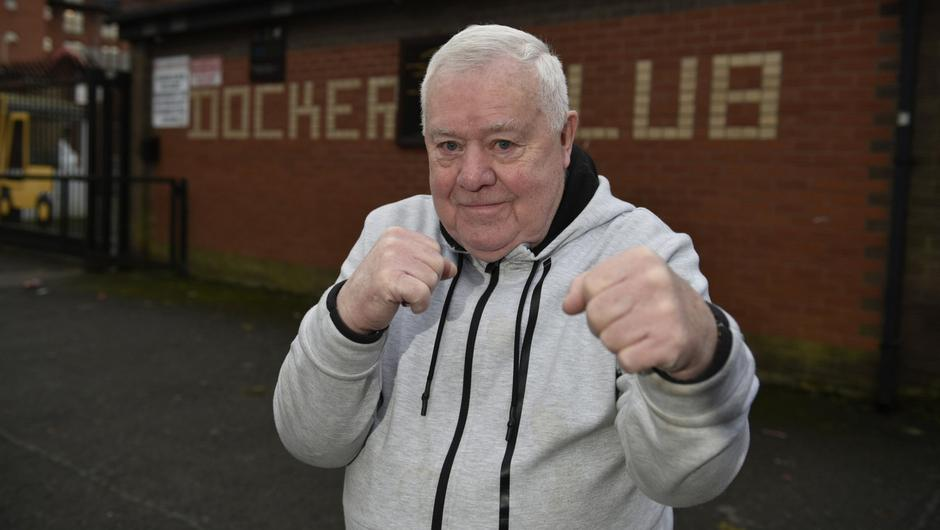 Big hit: Boxing legend Paddy Fitzsimmons at the Dockers club in Belfast