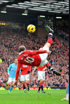 The sensational overhead kick against Man City that actually came off Rooney's shin