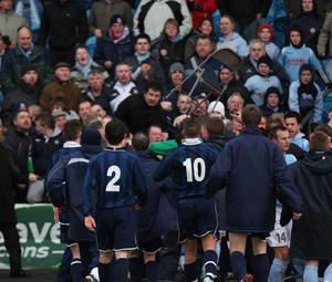 Things kick off after the final whistle of an infamous game between Distillery and Wright's Ballymena United