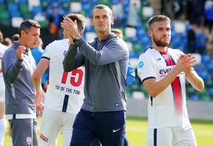 Champions: Well done to Oran Kearney and Coleraine on winning the title. Hang on...