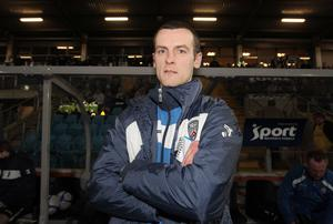 Debut delight: Oran Kearney poses for the cameras before his first match as Coleraine boss, a 1-0 win at Ballymena United