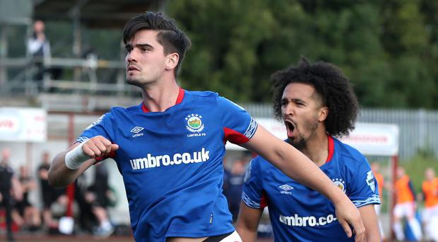 Danger man: Jimmy Callacher is up to his goalscoring antics once again for the Blues