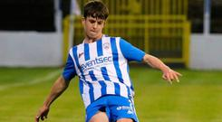 Life of Riley: Jay Riley made his debut for Coleraine at just 14 years of age last week