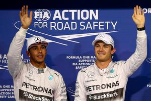 Dead heat: There's nothing to separate Lewis Hamilton and Nico Rosberg in the 'hands up, who hates the other one the most' competition live from Abu Dhabi