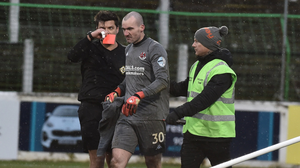 Seeing red: Crusaders keeper Ger Doherty is sent off by referee Andrew Davey