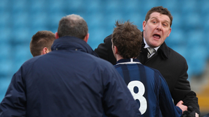A quick chat: Tommy Wright and Paul Kirk exchange pleasantries back in 2008 as things kick off after the final whistle
