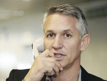 Gary Lineker (pictured not calling BT)