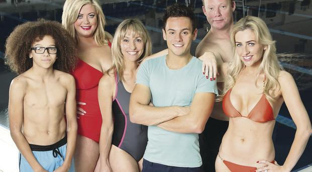Plunging the depths: Commonwealth Games gold medal-winning diver Tom Daley (dressed) is joined by the first lot of celebrities (undressed) in the second, and surely if there's any justice in the world, final series of Splash!